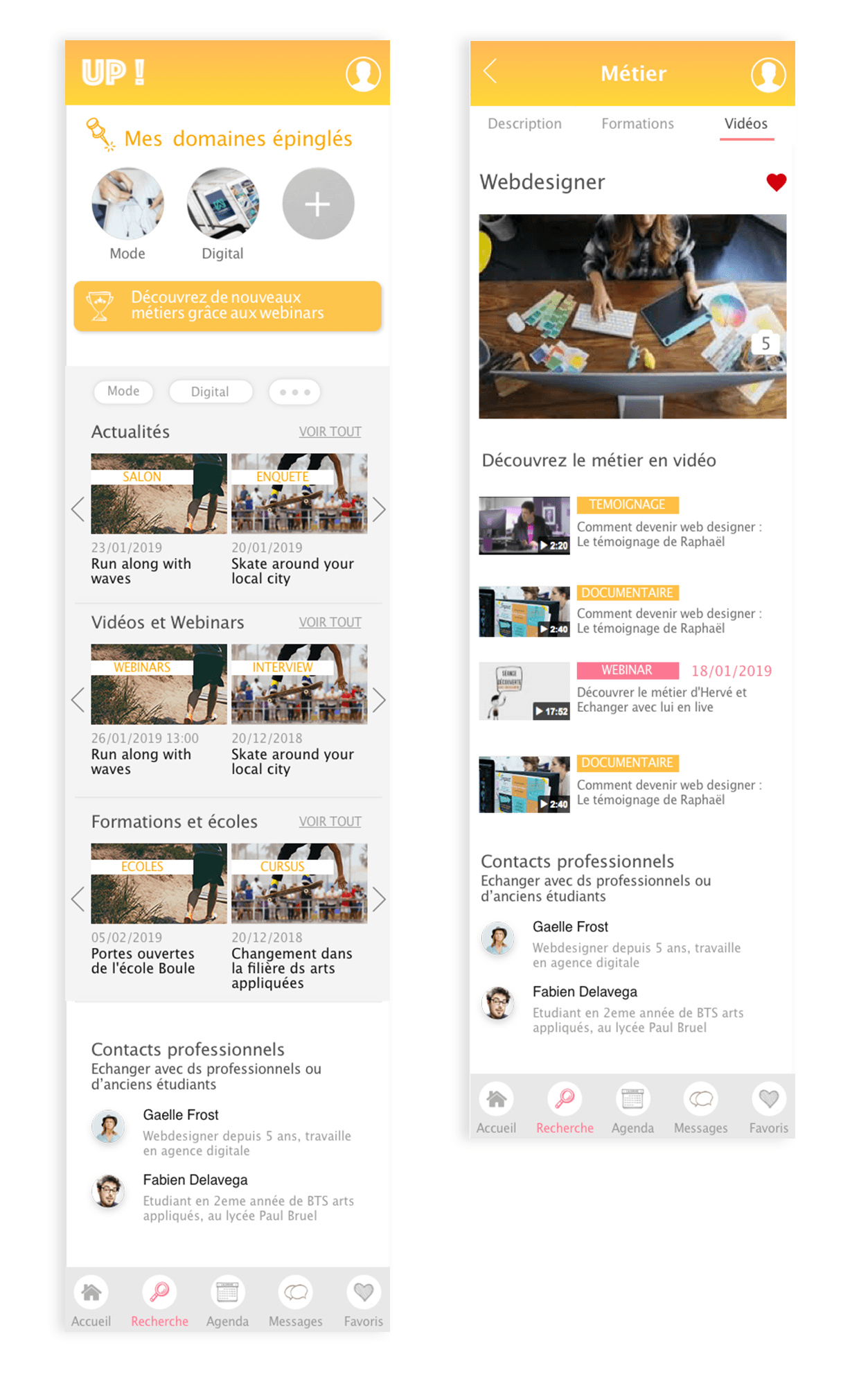 projet portfolio : UI design Appli mobil Up