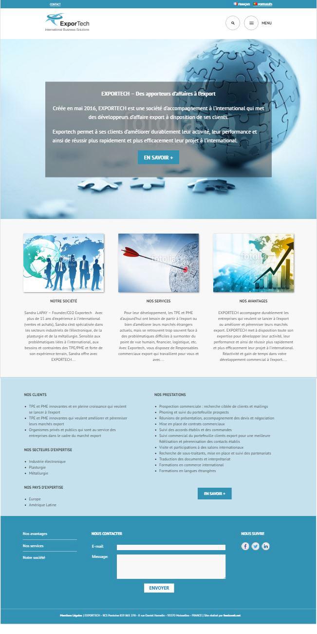 projet portfolio : Site internet vitrine Multilingue Exportech